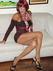Karen (Karen Maris) Tags: tg tgirl tgurl legs redhead transvestite transsexual transgender pantyhose tights collants heels sheer hose tranny crossdress crossdresser