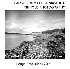 Lough Erne and beach - This black and white camera obscura photo is NOT sharp due to camera characteristic. Taken on film with a pinhole camera (jbeugephoto) Tags: lough erne beach ireland northernireland fermanagh enniskillen landmark famous water tree landscape attraction white photography pinhole photo black vintage retro photographic analog image nobody obscura oldfashioned pinholecamera foma fomapan developer rodinal fixer adofix lerouge45 lerouge54 large format