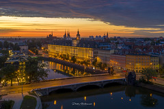 Golden morning in the city (mitelski) Tags: aerial architecture illumination morning outdoor river socialmedia street summer sunrise water wrocław lowersilesianvoivodeship poland outdoors bridge no people city cityscape travel destinations high angle view illuminated connection building exterior reflection dusk architectural trip golden hour fire clouds drone birds eye