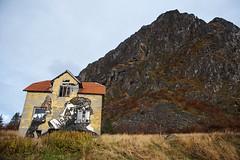 Lofoten Protest Art D75_1006 (iloleo) Tags: landscape hill lofoten nature art mural modern house norway protest nikon d750 environment