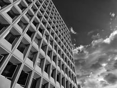 La oficina (jantoniojess) Tags: arquitectura architecture blancoynegro blackandwhite monocromático monochrome clouds nubes oficinas ventana edificio geometría geometry perspective perspectiva panasonictz90 sevilla seville españa spain