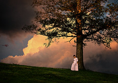 Quietude (Spoken in Red) Tags: summer womanagainsttree hugesky moon greengrass hilll land meadow landscape silhouette whitegown summertime dusk evening sunset womaningown outside clouds bigsky redhair updo romanticart feminineart photography portraitphotographywomaninnature