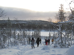 to frozen river (VERUSHKA4) Tags: walk canon europe north nord cold deepnorth russia murmanskregion nature day november winter hiver people vue view village farm tree river forest wood trunk pinetree snpw ciel sky way path frozen