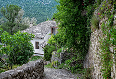 Green Paradise (Jocelyn777) Tags: architecture houses buildings stonehouses stone road trees plants foliage mountains landscapes villages pocitelj bosniaandherzegovina balkans travel