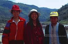 Huay Xai to Pakbeng by freight boat, friendly Lao passengers (blauepics) Tags: southeast asia südostasien laos lao city stadt border grenze huay xai houayxay mekong mekhong river fluss freight boats ships schiffe frachtschiff boot traffic verkehr 1996 girls mädchen women frauen friendly freundlich smiling lachen locals einheimische