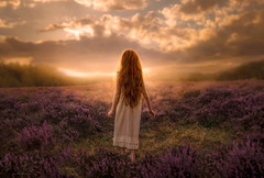 The Pilgrim ({jessica drossin}) Tags: jessicadrossin portait woman girl red hair face portrait sky clouds field heather trees light wwwjessicadrossincom