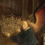 09b Ян ван Эйк. Мадонна канцлера Ролена, фрагмент ангел