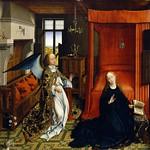 22 Ван дер Вейден. Благовещение, центральная часть триптиха Турне, 1464. Лувр