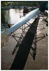 Upturned (peterphotographic) Tags: 000022300018edwm upturned leica leicam6 m6 summarit summaritm35mmf25 rangefinder prime ©peterhall riverlea learowingclub leanavigation eastlondon springfieldpark london england uk britain shadow four row skull hull boat towpath canal bow 35mm scanned film filmsnotdead analog kodak portra portra400