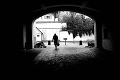 Man with bag (stefankamert) Tags: street man bag tunnel stefankamert blackandwhite blackwhite noir oneperson ricoh gr griii ricohgriii 28mm shadows noiretblanc bw