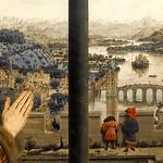 09a Ян ван Эйк. Мадонна канцлера  Ролена, фрагмент, ок.1435. Лувр