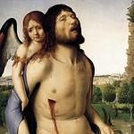 42 Антонелло да Мессина Мертвый Христос, поддерживаемый ангелом, 1474. Уффици