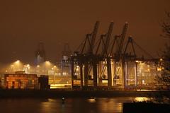 Light at night (Elbmaedchen) Tags: hafen tollerort hamburg hamburgerhafen nachtaufnahme nebel light containerbrücken elbe portofhamburg elbstrom nightscene dunst