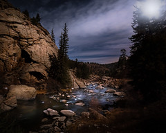 Moonlight Sonata (wximagery) Tags: florissant colorado unitedstatesofamerica moonlight landscape mountainlandscape nighttime longexposure adobelightroom rockymountains river stream water nopeople alone lighting dramatic