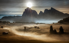 Early morning (gregor158) Tags: dolomites italy europe fog mist sunrise clouds trees tree mountains mountain landscape nature sun travel seiseralm