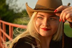 A good day on the ranch (radargeek) Tags: iris mustang oklahoma portrait model modeling irisrae426 july 2019 cowboyhat fence sunset wind breeze