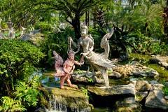 Sculptures in the garden of Erawan museum in Samut Phrakan near Bangkok, Thailand (UweBKK (α 77 on )) Tags: sony alpha 550 dslr thailand southeast asia bangkok samutphrakan samut phrakan erawan museum park garden water feature sculpture statue pond tree bush outdoors
