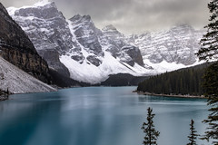 Moraine Lake (Jeff Saly) Tags: moraine lake banff canada glacial snow rockies mountain nationalpark solitude nature landscape rocky mountains clouds fall autumn