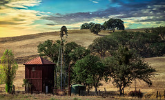 Rolling Hill Oaks (larwbuck) Tags: autumn building clouds country fallcalifornia foothills grass structure structures travel trees windmill