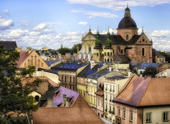 Old town (Pawel Wietecha) Tags: krakow cracow poland wawel old town buildings church roof architecture art green red brown vivid tube city architecturalphotography sun sky blue yellow orange travel trip color light colors outside outdoor journey clouds