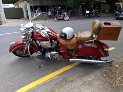 Red Indian in Hahndorf (nickant44) Tags: indian red hahndorf nokia australia motorcycle chrome leather