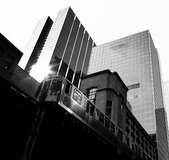 Elevated (Demmer S) Tags: elevated train rail tracks windows trains travel railroad transportation sideview window light lensflare parallel lines repetition pattern buildings skyscrapers lookingup street streetphotography shootthestreet streetshots documentary citylife urban city outside urbanphotography streetscene urbanexploration outdoors chicagoland downtown architecture architectural arkitektur architektur architettura arkkitehtuuri archdaily architecturephotography archidose bw monochrome blackwhite blackandwhite blackwhitephotos blackwhitephoto