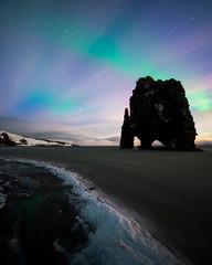 Trickster (Maddog Murph) Tags: hvitserkur northern lights aurora borealis moonrise moon light snow sea ice winter seastack ocean