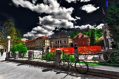 Weather in Ljubljana: clear sky with scattered clouds (Marco Trovò) Tags: marcotrovò hdr canoneos5d slovenia lubiana architecture architettura strada street città city building edificio kongresnitrg piazza square piazzadelcongresso congresssquare