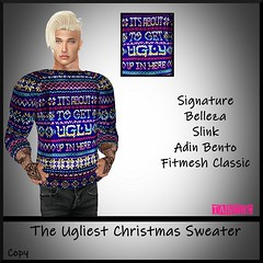 Tastic-The Ugliest Xmas Sweater (Spanky SL *Owner of Tastic store*) Tags: tastic ugly christmas xmas sweater men male sl secondlife store vendor ad stealthic hair signature mesh bento blue black white green yellow brown pink funny belleza slink