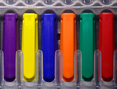 complementary (amazingstoker) Tags: complementary colour red green yellow purple blue orange staedtler lumocolor nonpermanent marker pen light painted