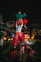 Stepping high (Cadicxv8) Tags: liondance liondancing dancing asian festival work training teamwork team people night vietnam chinese street saigon