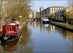 A sunny day on the canal. (Country Girl 76) Tags: canal leeds liverpool boats sunshine water reflections buildings