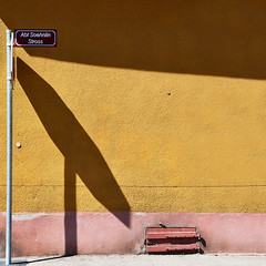 Full stop (Arni J.M.) Tags: building wall fullstop shadow sunlight hexagon pavement corner stopsign streetsign fort neufbrisach alsace france