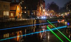 Allt ljus på Uppsala, November 2, 2019 (Ulf Bodin) Tags: alltljuspåuppsala uppsala sverige fyrisriver laser fyrisån kväll water fyris canonrf85mmf12lusm outdoor night canoneosr sweden urbanlife uppsalalän