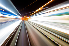 Lightspeed (© Laurent Sicard Photographie) Tags: light longexposure poselongue lumiere trails smartphone phone train rails night nuit abstract abstrait