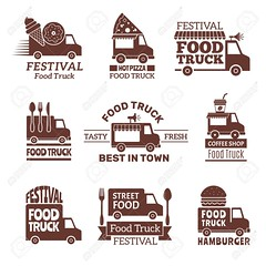 Food truck logo. Street festival van fast catering outdoor kitchen vector labels and badges monochrome style (amudkip10) Tags: festival delivery lunch transport street restaurant van badge monochrome snack driving eatery market logotype hot pizza truck logo service fast food catering label mobile vector eat transportation vehicle business retro icon car sign illustration symbol wheel set fork fest shop ribbon white vintage element graphic background isolated design artwork collection