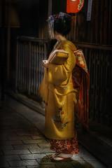 The girl in the yellow kimono (karinavera) Tags: city night photography cityscape urban ilcea7m2 sunset geisha japan street people