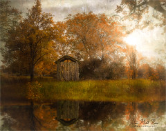 Little cabin (Jean-Michel Priaux) Tags: paysage nature landscape cabin poetry tree trees sunset paint painting priaux reflect autumn season luminar river wet home house orange hidden