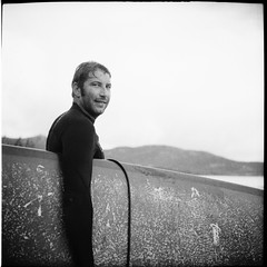 Luca Out Of the Water (Manuel&TheSea) Tags: monochrome mediumformat medium filmphotography ishootfilm tlr analoguehotography analogue bw iso125 homedevelop rodinal125 rodinal ilfordfilm ilford fp4 ilfordfp4 somberthiotparis luxoflex atos2 6x6 squareformat vintagecamera 50scamera portrait surfer longboarder water surfing grain