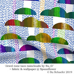'Jewel-tone taco rainclouds by Su_G': fabric mockup (Su_G) Tags: jeweltonetacomountainsbysug fabric mockup sug 2019 spoonflower spoonflowercontest spoonflowerdesignchallenge roostery colourful multicoloured jeweltone tacos mountains rain chalk metallicoils metallic metallicoil orange blue green violet purple red rainbow