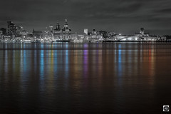 Reflecting Reality (alundisleyimages@gmail.com) Tags: liverpool waterfront unescoworldheritagesite reflections bw night longexposure buildings architecture rivermersey merseyside england uk maritime thethreegraces tourism attractions crossing