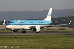 PH-EXC Embraer 190 KLM Glasgow airport EGPF 25.08-19 (rjonsen) Tags: plane airplane aircraft aviation airline regional jet blye taxying airside