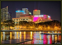 Tampa Riverwalk (pandt) Tags: tampa riverwalk night hillsborough river water refelction colors strazcenter sikes skylight cityscape nightscape outdoor flickr wharf trees lights city canon eos slr 6d beauty spotlights evening beautiful pink blue neon