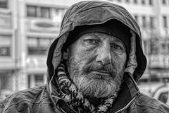 LIVING ON THE STREET (NorbertPeter) Tags: man street people outdoor city urban spontaneous portrait düsseldorf germany poverty monochrome streetphotography streetportrait blackandwhite bw sony ilce7 beard