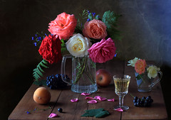 Still life with roses and wine (Tatyana Skorokhod) Tags: stilllife bouquet roses fruits grapes indoor wine