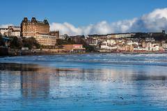 Beach Reflections (Derwisz) Tags: scarborough yorkshire nothyorkshire england englandseastcoast sea seaside town cityscape skyline grandhotel beach coast shore reflections canoneos40d unitedkingdom uk