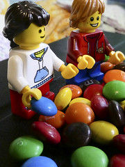 2019-11-22 One for you and one for me! (Mary Wardell) Tags: lego minifigs minifigures toys candy mms small tiny colorful justforfun ps