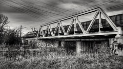 Railway landscape (wojciechpolewski) Tags: railway railwaybridge river landscape train poland wpolewski blackandwhite blanconegro blackwhite schwarzweis nature photos photo