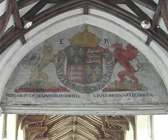 Royal coat of arms of Queen Elizabeth I (Happy Snapper 61) Tags: stcatherineschurch ludham norfolkbroads norfolk church coatofarms queenelizabethi chancelarch painting tudors