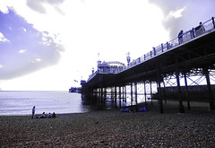 Brighton Palace Pier in England (` Toshio ') Tags: toshio brighton pier brightonpalacepier england unitedkingdom greatbritain europe beach shoreline people englishchannel water infrared clouds fujixt2 xt2 eastsussex